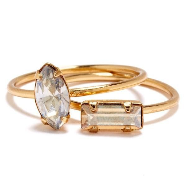 Bing Bang 'Tiny Marquis Ring' & 'Tiny Baguette Ring'. Delicate, on trend and SUPER chic, love that they can be stacked together! $68 (bingbangnyc.com)