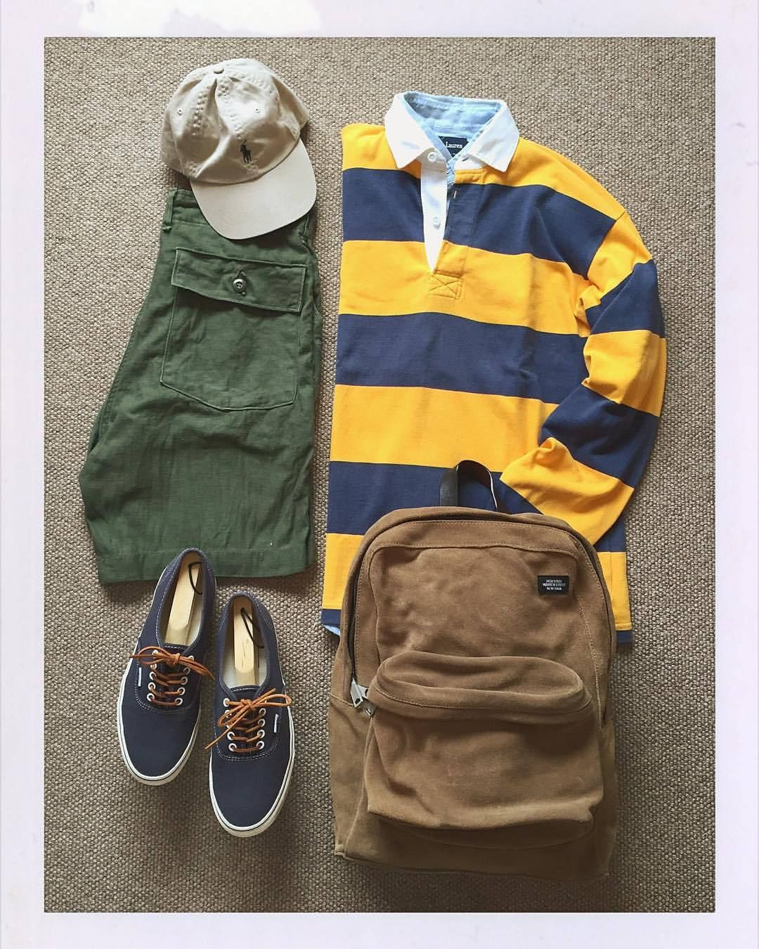 Today's Outfit. #Barbarian #RugbyShirt #RalphLauren #ChambrayShirt RalphLauren #6PanelCap 70's U.S.Army #FatigueShort #JackSpade Suede #DayPack #Vans #JCrew #Authentic #outfitoftheday #outfitgrid #OOTD #DailyFashion #Cordinate #Vintage #Fashion...