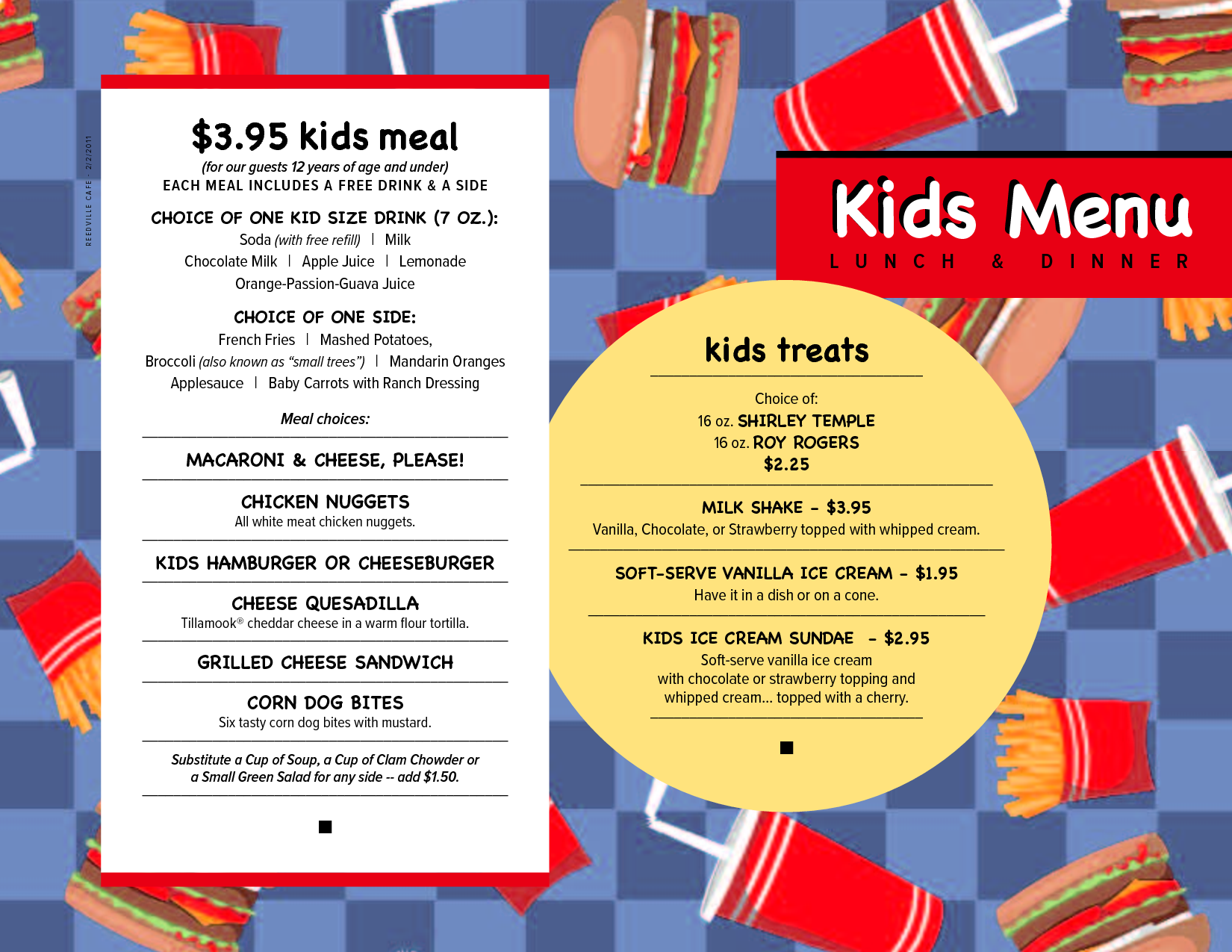 kid menu templates