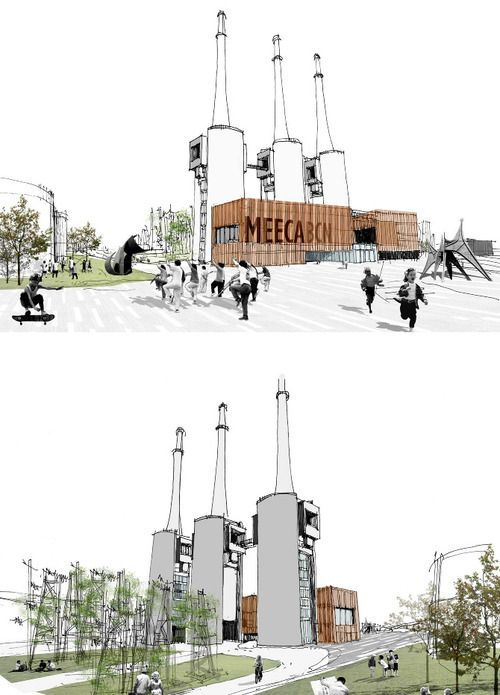 Landscape Architecture Perspective Drawings post-industrial landscape | (architecture) drawings | pinterest