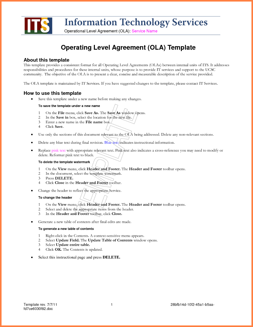 Standard Service Level Agreement Template Service Level Agreement Information Technology Services Agreement Quote
