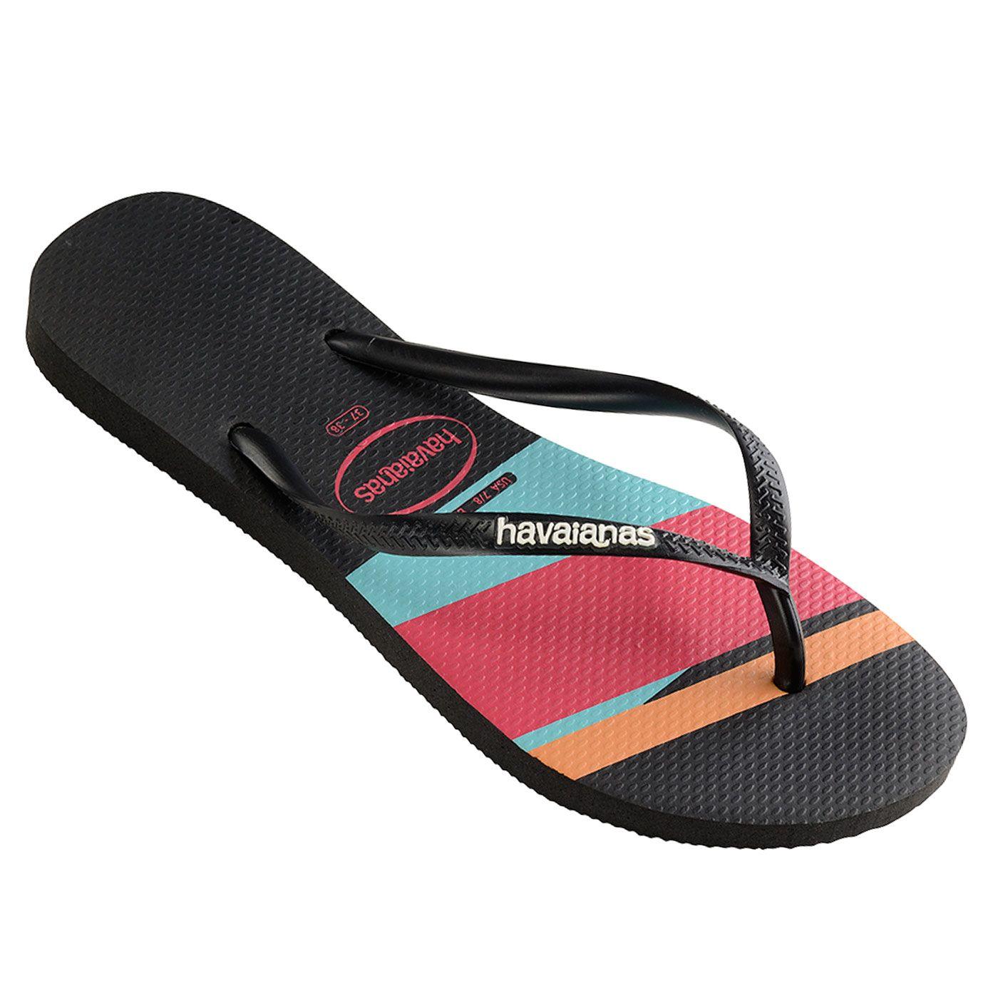 3eb8315b6efa Havaianas Slim Stripes (Block) Black Colour Thongs. Rock the block this  summer