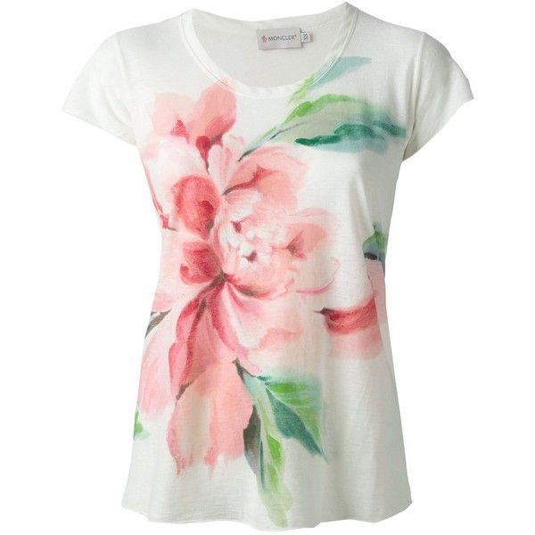 MONCLER floral print t-shirt (350 CAD) ❤ liked on Polyvore featuring tops, t-shirts, shirts, pink short sleeve shirt, scoop neck t shirt, pink tee, pink floral shirt and short-sleeve shirt