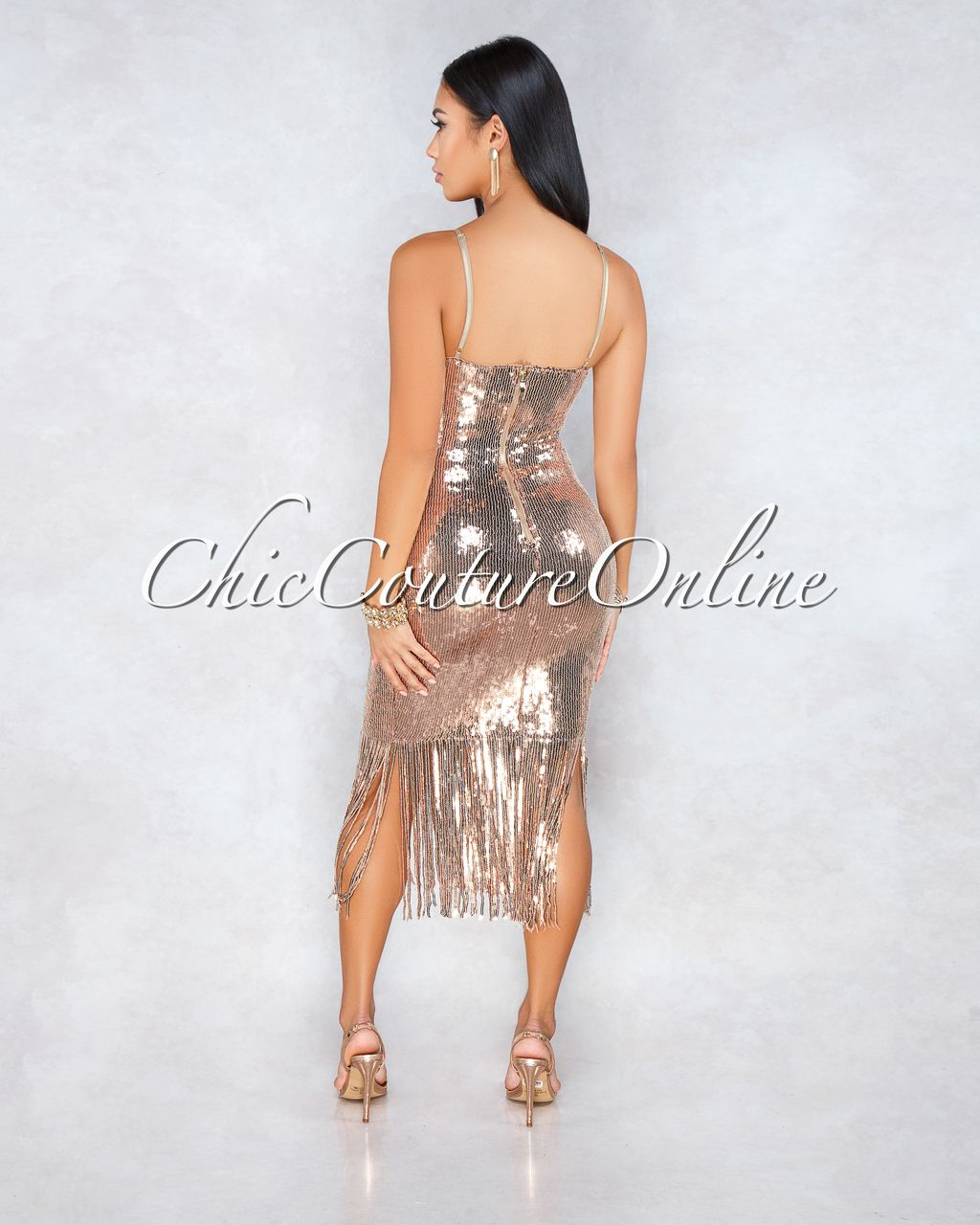 c05b1e8dce34 Chic Couture Online - Syanna Nude Rose Gold Sequins Fringe Midi Dress