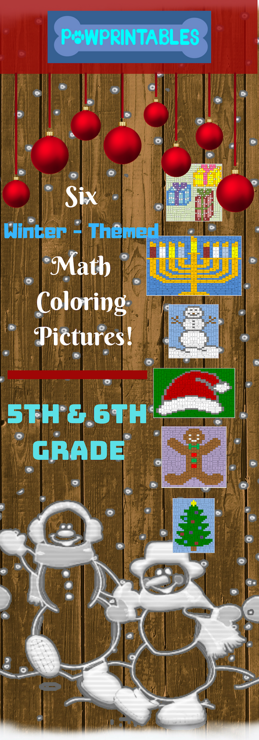 5th 6th large winter christmas packet math coloring pictures 6 activities elementary. Black Bedroom Furniture Sets. Home Design Ideas