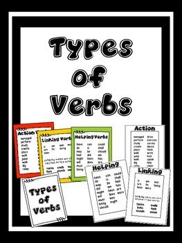 Types Of Verbs Action Linking And Helping Types Of Verbs Linking Verbs Helping Verbs