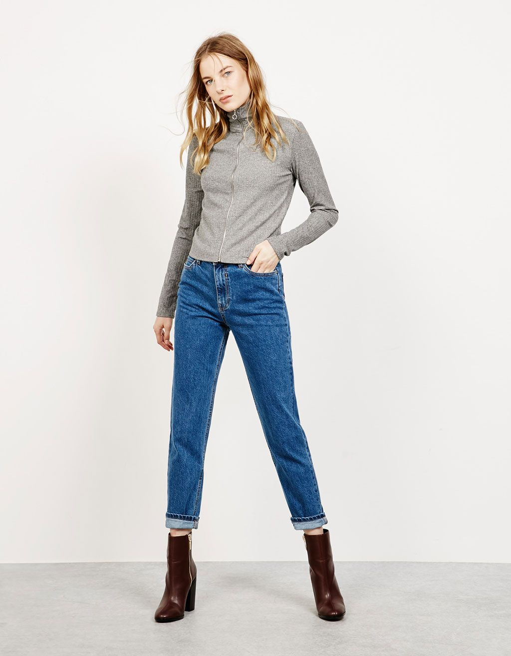 Bershka Colombia - Jeans hight waist 'Mom Fit' | outfits