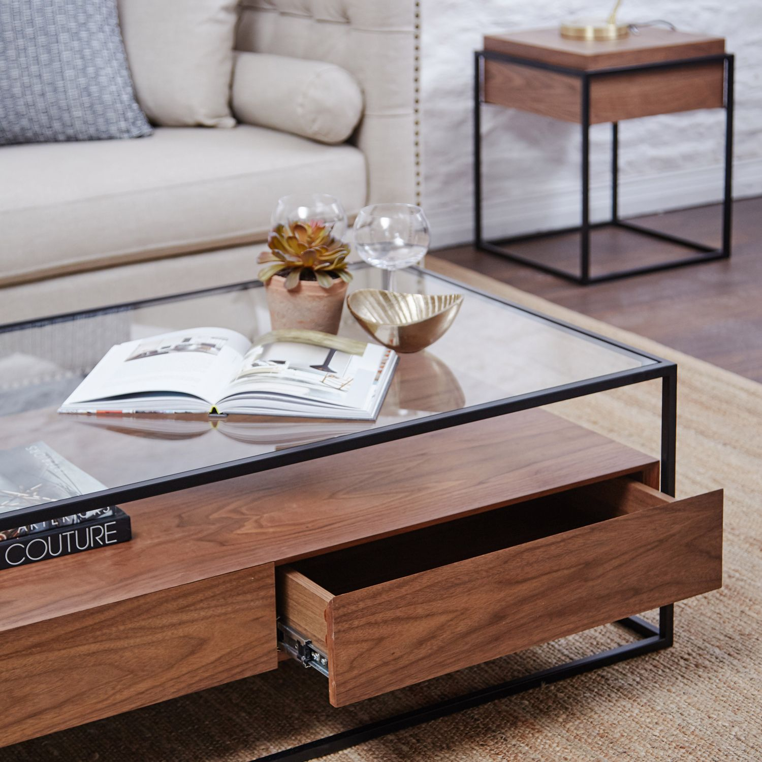 The Ashabi Coffee Table Is Expertly Crafted With The Finest Solid Walnut Is Fast On It S Way To Being To Being Aw17s Fa Coffee Table Table Glass Coffee Table [ 1500 x 1500 Pixel ]