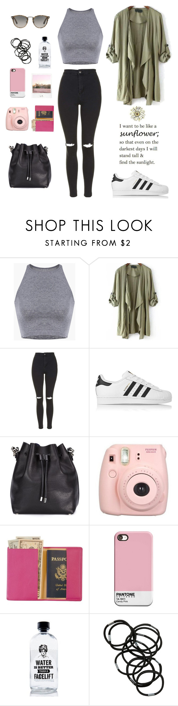 Untitled #63 by marylobo99 on Polyvore featuring Topshop, adidas Originals, Proenza Schouler, Royce Leather, Persol, Monki, Aquaovo and Polaroid