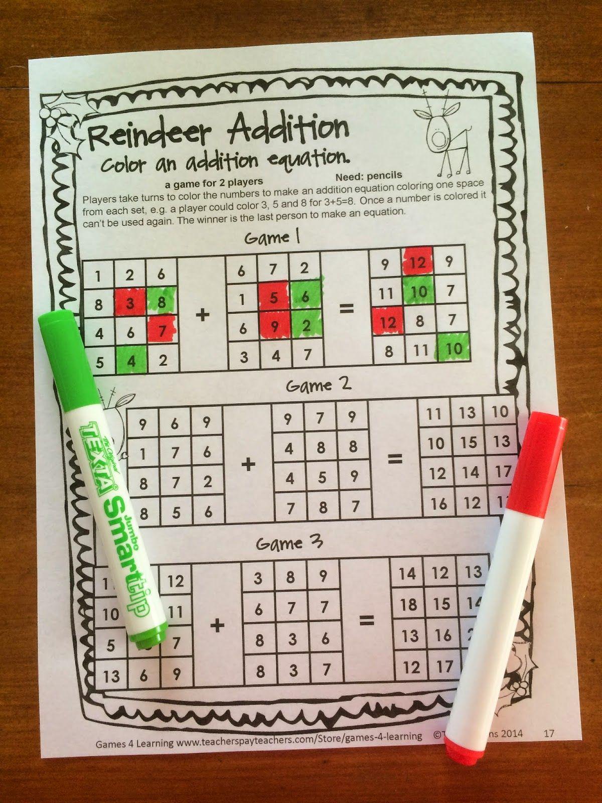 NO PREP Christmas Math Games for Second Grade with