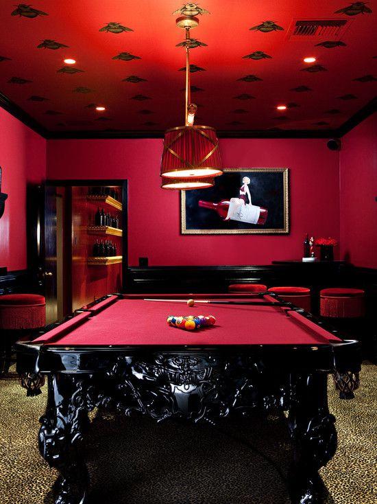Media Room Leopard Print Carpet Game Room Pool Table