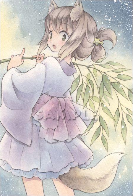 オリジナル手描きイラスト 笹祭りへ はがき ヤフオク 水彩