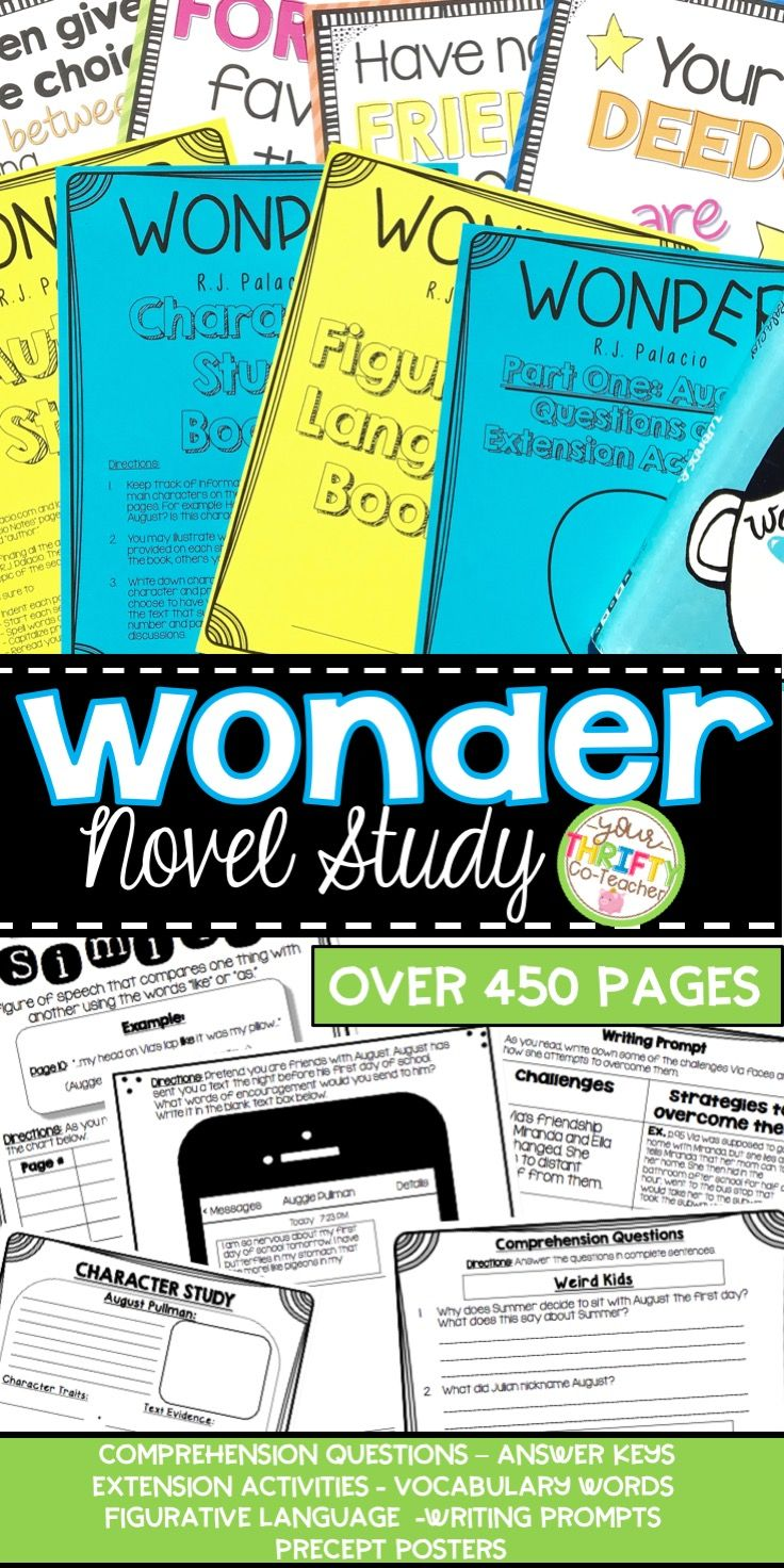 This Wonder Novel Study includes over 450 pages of Comprehension Questions,  Vocabulary, Writing Prompts, Posters, Activities, Answer Keys and more.