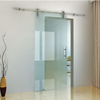 Structure Glass Solutions Flux Series Single Door Glass Mount Brushed Stainless Sliding Glass Door Interior Barn Doors Sliding Glass Barn Doors