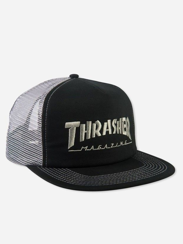 8ccaf42c0d6 Thrasher Logo Embroidered Cap Black Grey - Rollin