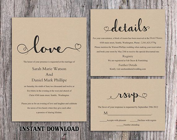 Burlap Wedding Invitation Template Download Printable