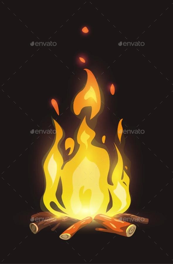 Cartoon Bonfire On Dark Background Art Background Dark Wallpaper Iphone Dark Backgrounds