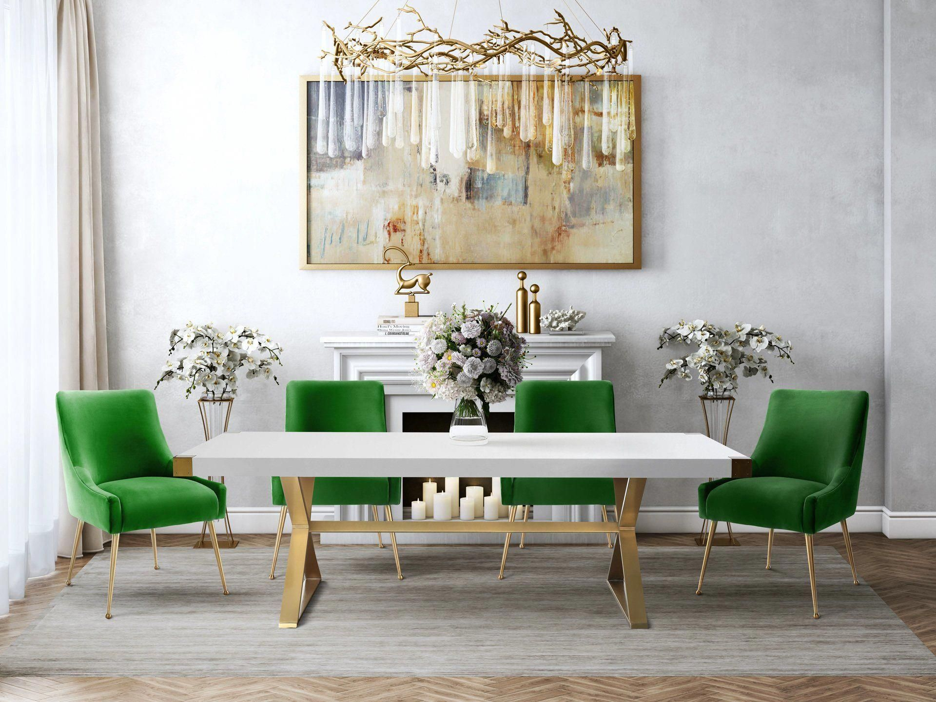 TOV Furniture Modern Adeline White & Gold Rectangular Dining Table