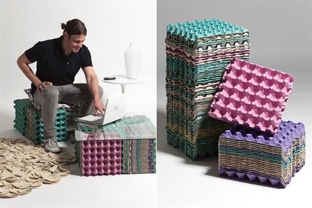 Al Igual Que Otras Piezas Apilables Y Susceptibles De Ser Recicladas Estos Separadores De Cartón Pue Recycled Furniture Furniture Collection Recycled Projects
