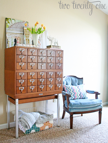 Library card catalog repurposed  into living room dresser
