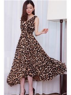 891a79ab3d Sexy Bohemian Style Leopard Print Flowing Chiffon Maxi Dress ...