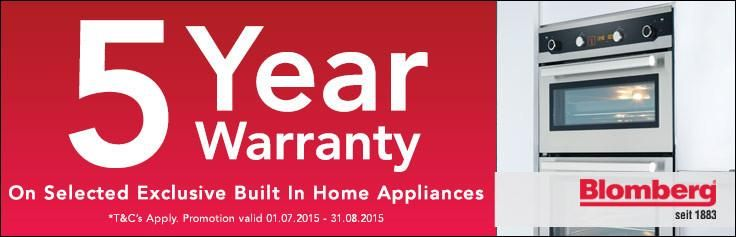 Blomberg built-in appliances with massive 5Yr Warranty still available. Call 01384 566497 or visit store for details.