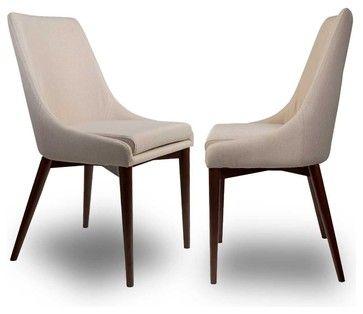 Lot de 2 chaises tissu Juju Couleur Beige moderne chaise de salle a