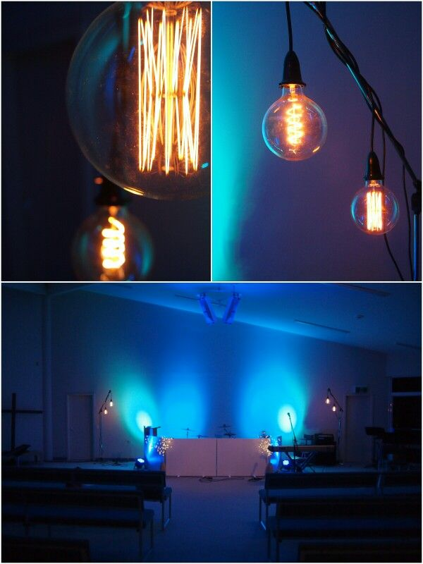 An Easy Inexpensive Temporary Setup For Hanging Light Bulbs For Your Church Stage Or Any Stage These Are Ou Hanging Light Bulbs Hanging Lights Church Stage