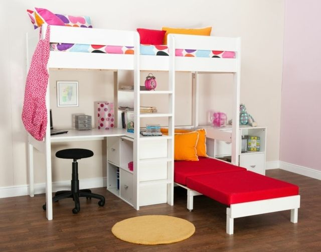 kinderzimmer f r m dchen rote matratze hochbett design. Black Bedroom Furniture Sets. Home Design Ideas