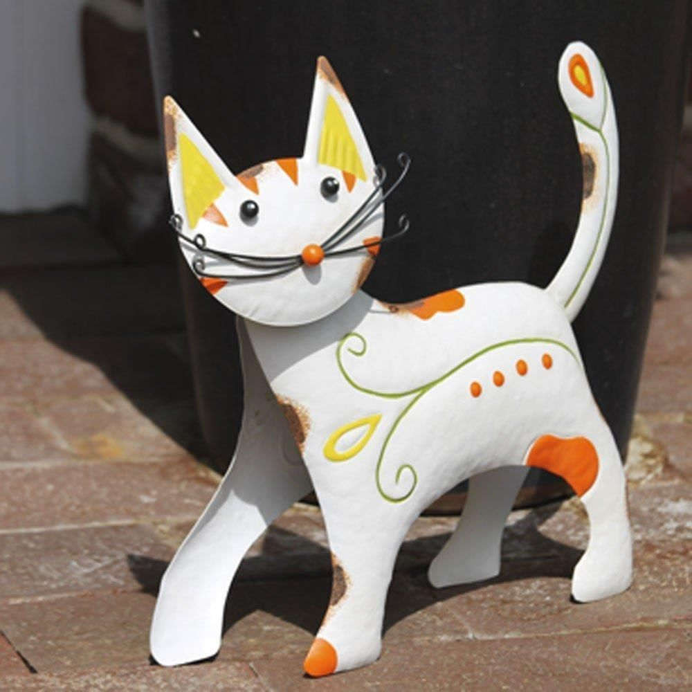Dekorative Katze Metall Dekofigur Cat In Garten Terrasse Dekoration Gartenfiguren Skulpturen Ebay Bunte Katze Katzen Gartenfiguren