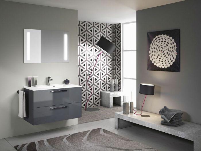 Badezimmer schwarz-weiß grauer muster Badezimmer Ideen u2013 Fliesen - schwarz wei fliesen bad
