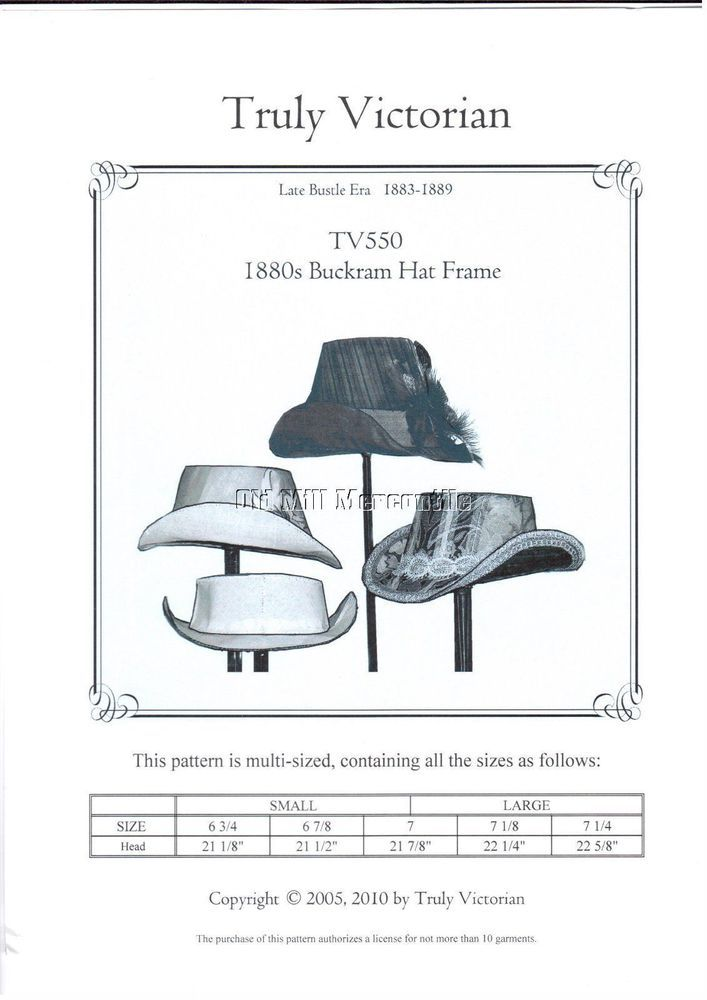 Truly Victorian TV550 SEWING PATTERN for buckram hat frame and hat ...