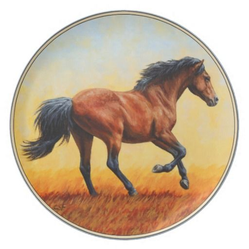 Running Bay Horse Dinner Plates. Artwork created from an original oil painting by equine artist Crista S. Forest.  sc 1 st  Pinterest & Bay Horse Galloping Dinner Plate | Horse