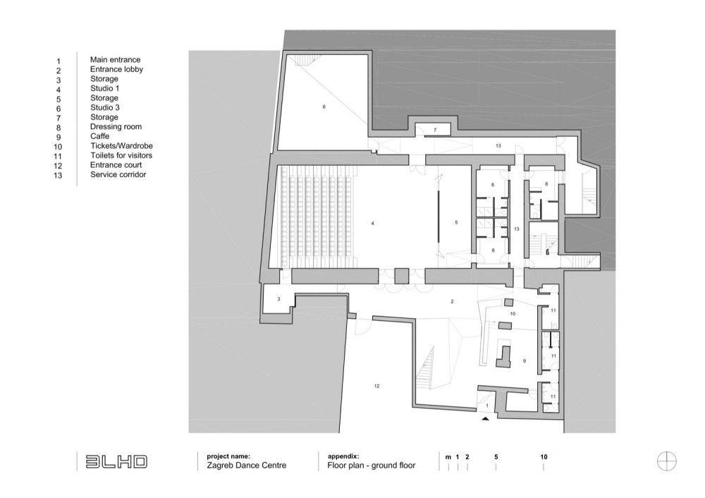 Zagreb Dance Center 3lhd Ground Floor Plan Floor Plans Ground Floor