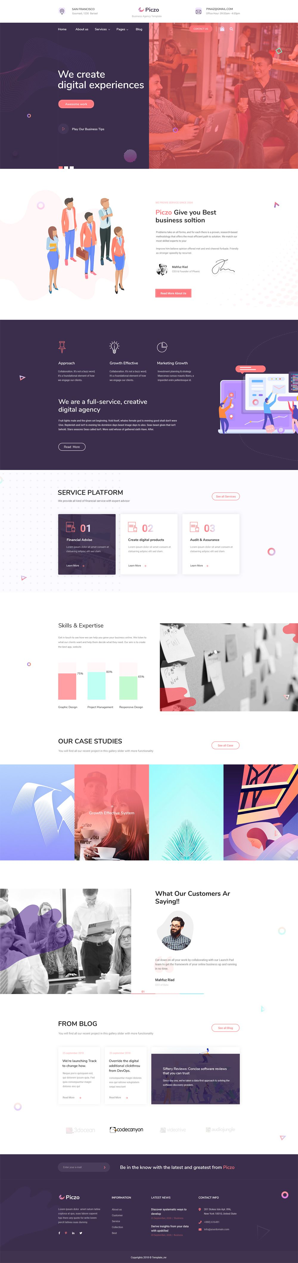 Piczo Business Agency Psd Website Template Web App Design Website Design Website Design Inspiration