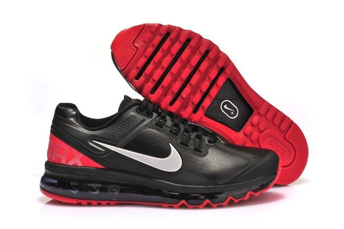 Mens Black Nike Air Max 2013 Shoes Leather on Sale Red