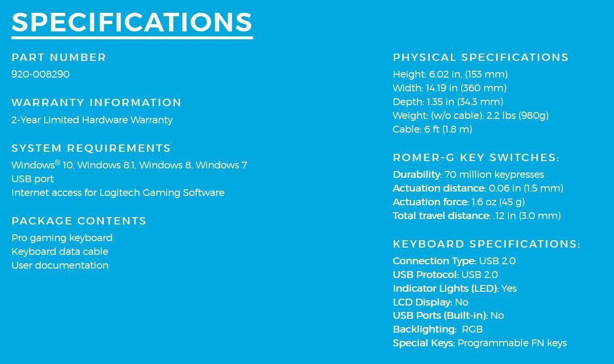 Logitech G Pro Mechanical Gaming Keyboard, 16 8 Million Colors RGB