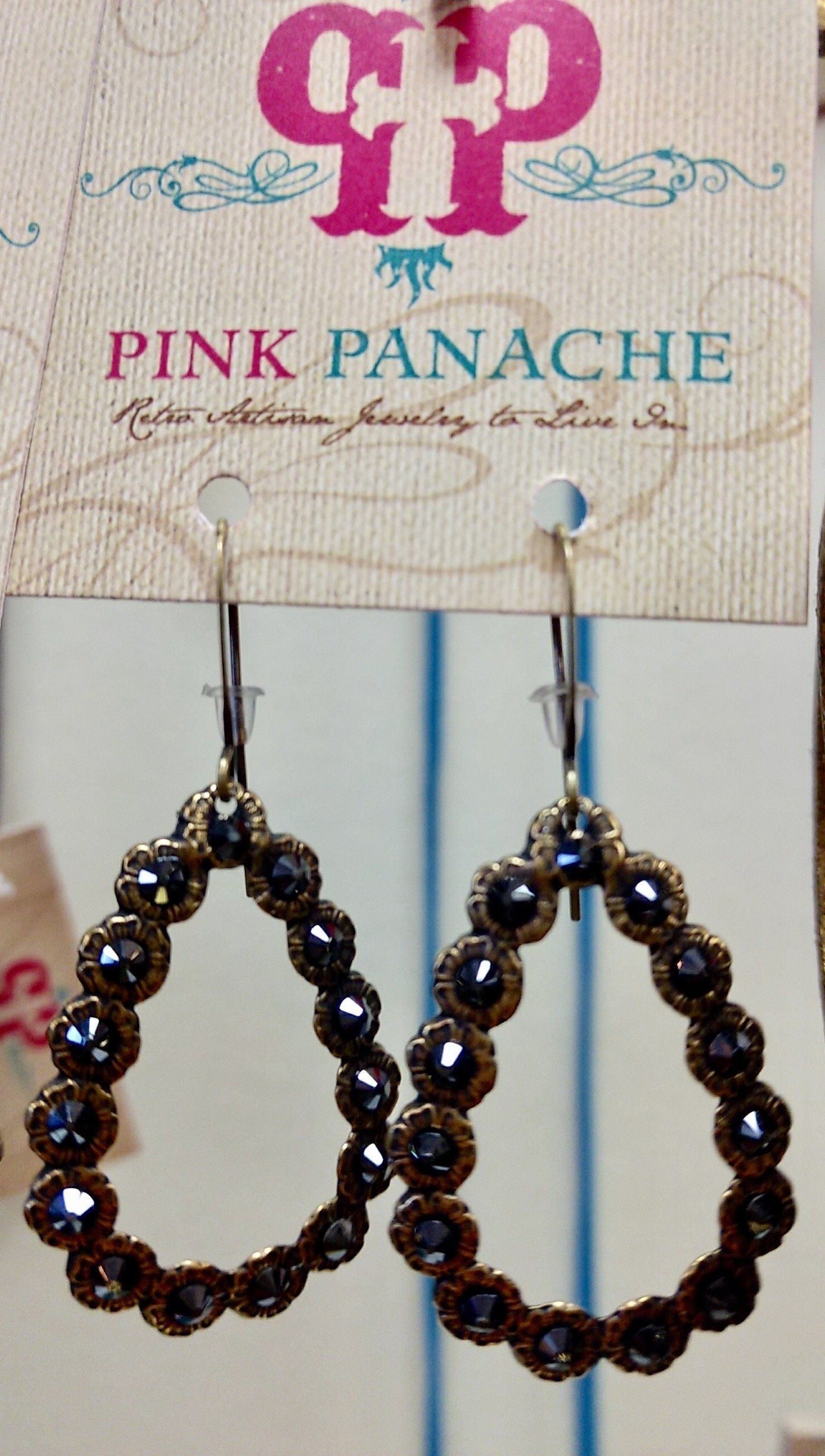Pink Panache Black Crystal Beaded Lightweight Earrings