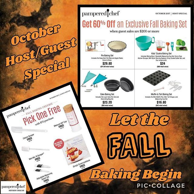 October Host and guest specials.. Let the fall baking begin.  Ask me how you can get free product!  #pamperedchefconsultant #pamperedchef #october #halloween #baking #fall #holidays #Host #guest #veteran #smallbusinesses #supportveterans #kitchentools #kitchen #pc #grabaspoon #freeproducts #promo #linkinbio #shopping #onlineshopping  Yummery - best recipes. Follow Us! #kitchentools #kitchen
