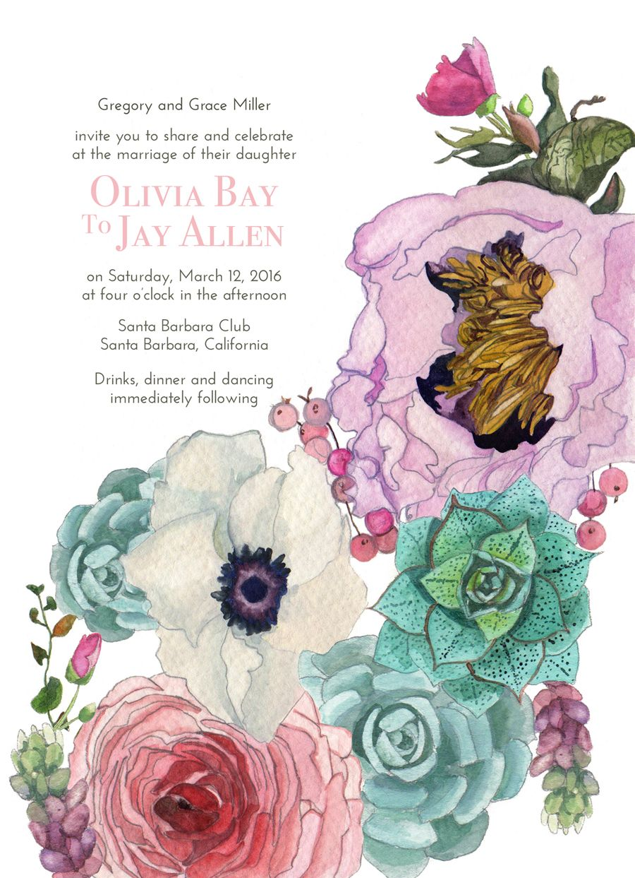 Spring Succulents watercolor Wedding Invitation by Arelor. https ...
