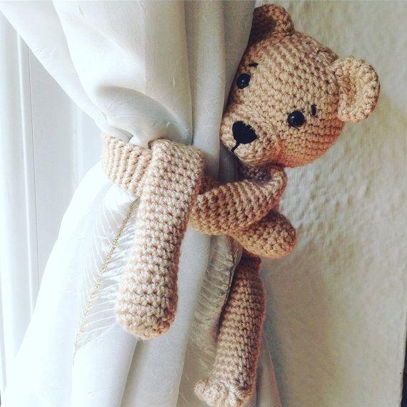 Bear Curtains Tie Back Single Animal Tie Backs Amigurumi Bear