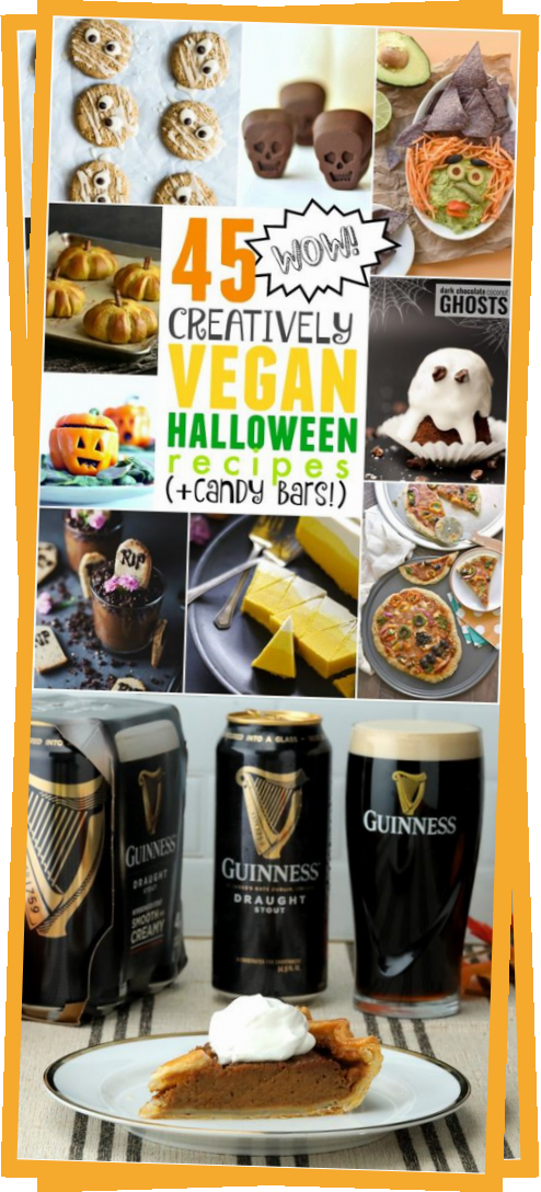Check out these 45 creatively vegan Halloween recipes (candy bars included!)  #aroundtheworld #holidays #christmasseason #christmasdinner #partyholiday #holidayideas #travelideas #christmasideas