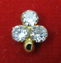 Indian Style Fancy CZ Nose stud Solid Real 14k Yellow Gold Fine Jewelry