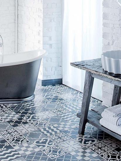 vloer van cementtegels in badkamer | tegels & meer | in-petto, Badkamer