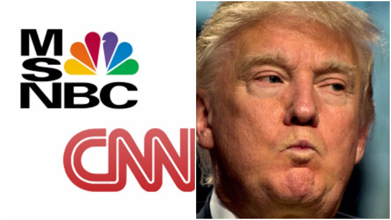 Image result for images of donald trump cnn and msnbc