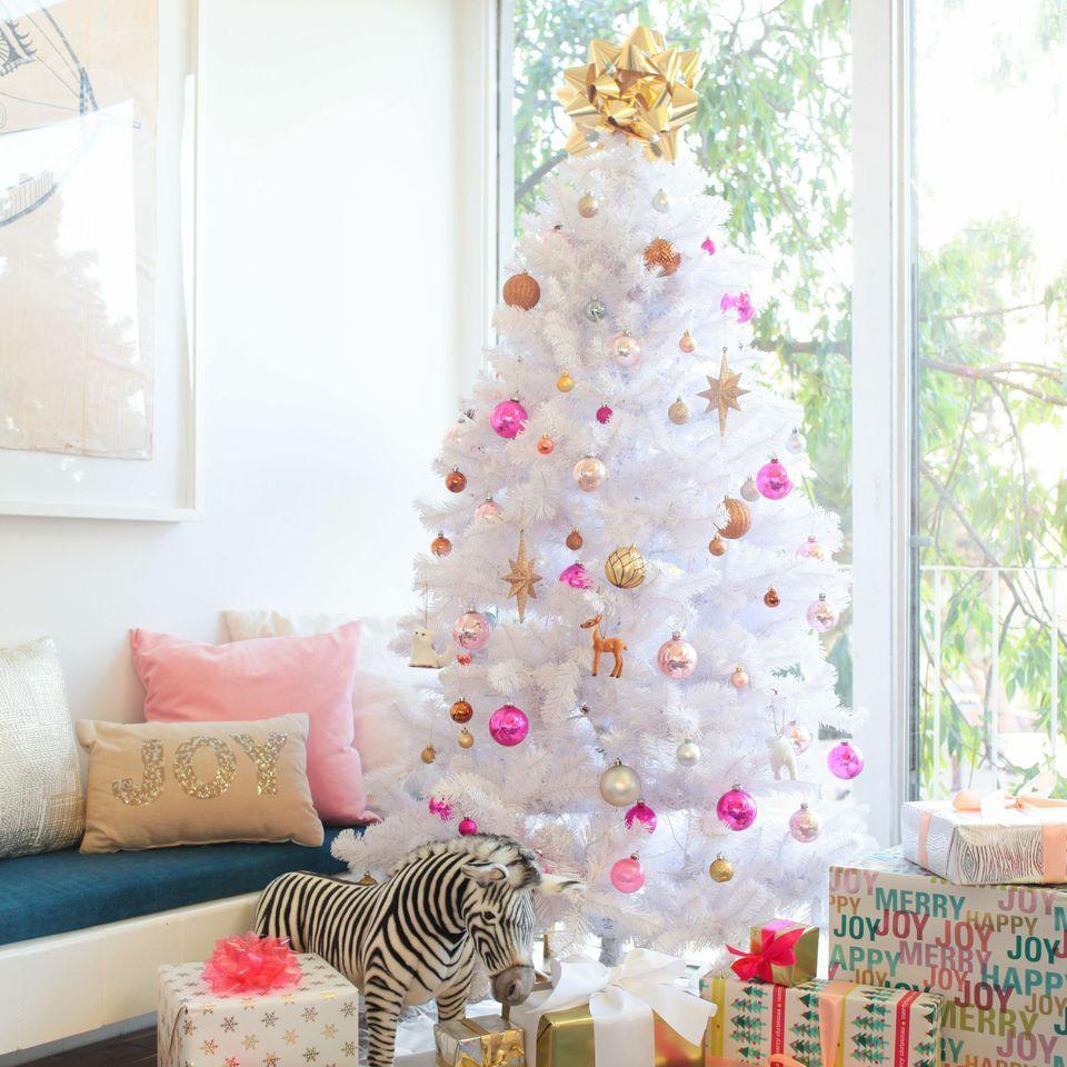 white christmas tree // Emily Henderson | Fall + Winter ...