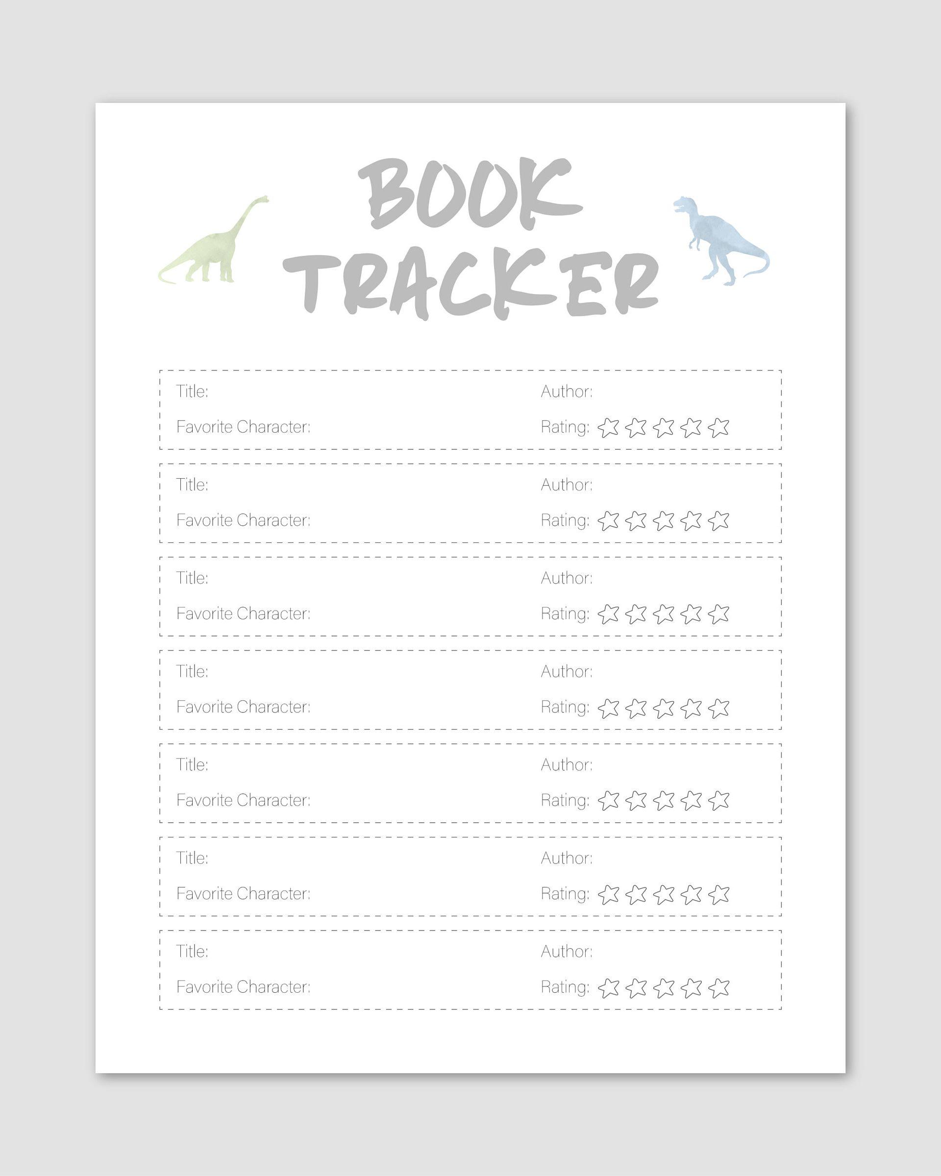 Summer Reading Log Dinosaur Homeschool Worksheet