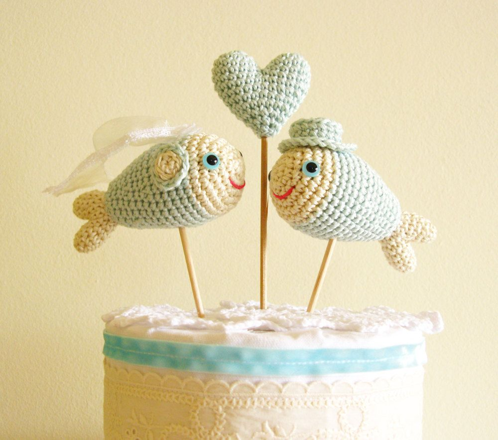Mint Fish Cake Topper, Wedding Cake Topper, Beach Wedding, Cake ...
