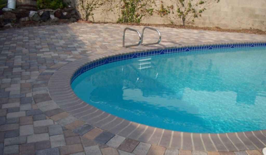 Swimming Pool Excellent Paving Stone Deck Design For Modern Private Ideas