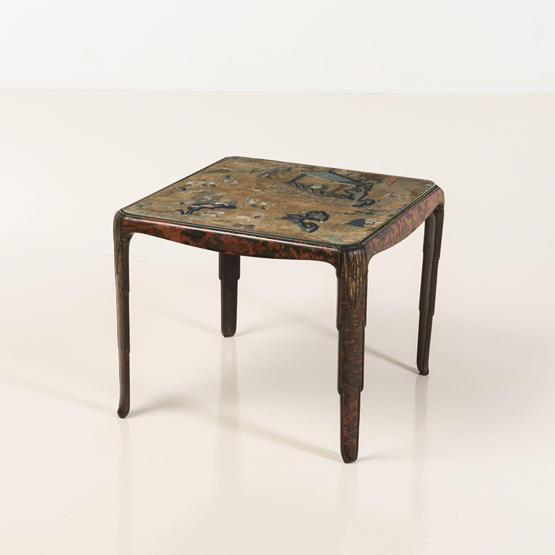 maison franck anvers table basse bois sculpt et placage dcaille plateau agrment - Table Japonaise Basse